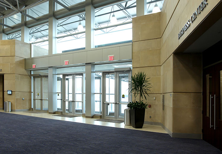 Image of front doors from the inside of convention center