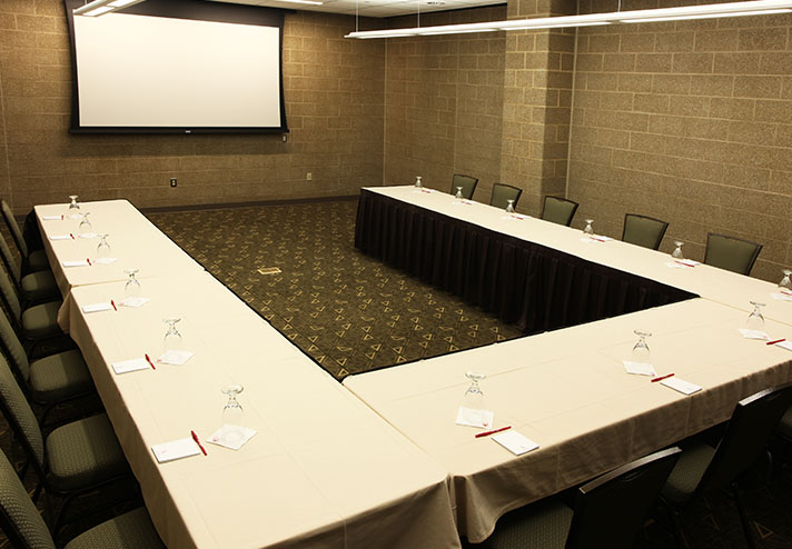 View of meeting room set up as a U Shape configuration