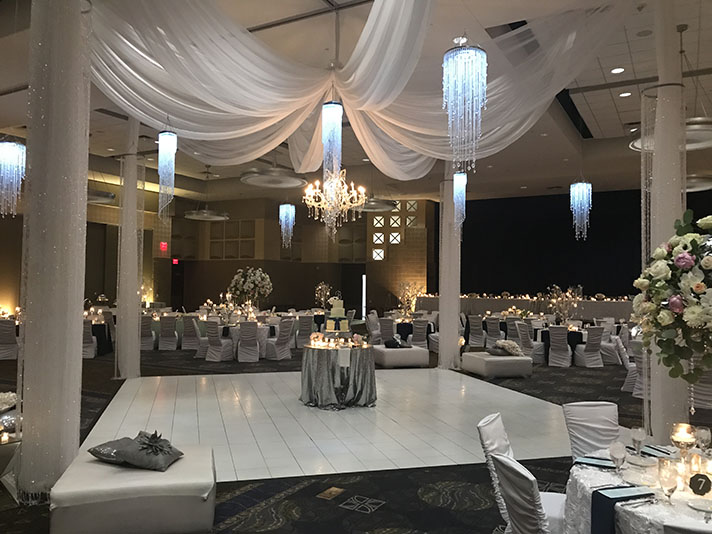 View of wedding gallery -  Conference center decorated in white