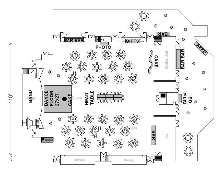 Image of floorplan one with dancefloor